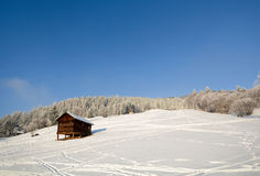 Winter landscape with wooden barn, Pitztal Alps - Tyrol Austria Royalty Free Stock Images