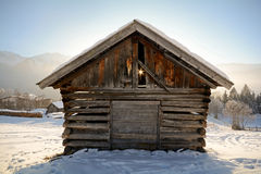 Winter landscape with wooden barn, Pitztal Alps - Tyrol Austria Stock Photography