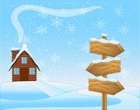 Winter landscape with a wooden house and pointer Stock Photography