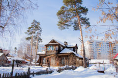 Winter landscape with the wooden house Royalty Free Stock Photography