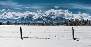 Winter Landscape Wyoming Hazelton Peak Stock Photo