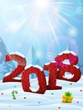 New Year 2018 in shape of knitted fabric in snow stock illustration