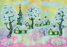 Winter landscape on yellow, painting Stock Image
