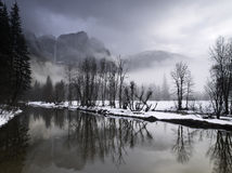 Winter landscape in yosemite valley Royalty Free Stock Images