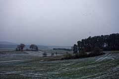 Winter landscapes of Bavaria. Winter, beautiful and snowy landscapes in Germany royalty free stock photos