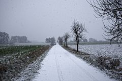 Winter landscapes of Bavaria. Winter, beautiful and snowy landscapes in Germany royalty free stock photography