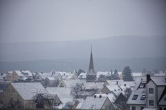Winter landscapes of Bavaria. Winter, beautiful and snowy landscapes in Germany stock photography