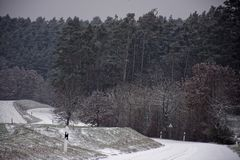 Winter landscapes of Bavaria. Winter, beautiful and snowy landscapes in Germany stock photo