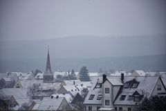 Winter landscapes of Bavaria. Winter, beautiful and snowy landscapes in Germany royalty free stock images