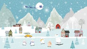 Winter landscapes with cute polar bear family celebrating in Christmas eve, Merry Christmas and Happy New year background