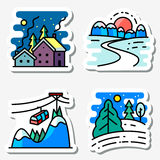 Winter landscapes icons set. Vector colorful thin simply sticke Stock Image