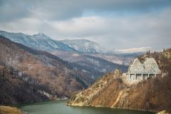 Winter landscapes of lake Siriu Royalty Free Stock Photography