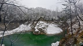 Freezing and pure green water Royalty Free Stock Photo