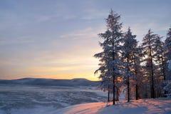 Winter landscape of Oymyakon.  Yakutia, Russia. Winter landscapes of Oymyakon - the pole of cold of the Northern Hemisphere. Yakutia, Russia stock photography
