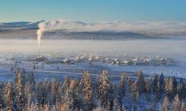 Winter landscape of Oymyakon.  Yakutia, Russia. Winter landscapes of Oymyakon - the pole of cold of the Northern Hemisphere. Yakutia, Russia stock photo