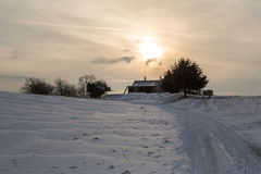 Winter Landschaft, Berghuette Alps, Schnee, Royalty Free Stock Photo