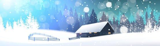 Winter-Landschaft mit Haus in Snowy Forest Horizontal Banner stock abbildung