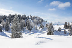Winter-Landschaft an Mt Dobratsch Stockfotografie