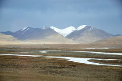 Winter-Landschaft in Qinghai-Tibet-Hochebene Lizenzfreies Stockfoto