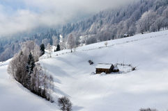 Winter-Landschaft in Rumänien stockbild