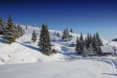 Winter-Landschaft in Rumänien Lizenzfreies Stockbild