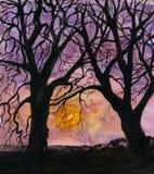 Winter-Landschaft, silhouettierte Bäume und Sonnenuntergang. vektor abbildung