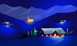 Winter-Landschaft u. glückliches Weihnachten Stockbild