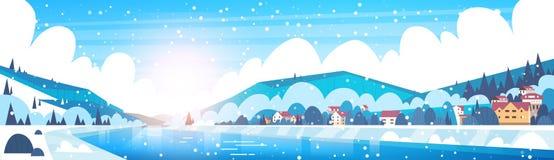Winter-Landschaft von kleinen Dorf-Häusern auf Banken von den gefrorenen Fluss-und Gebirgshügeln bedeckt mit Schnee-horizontaler  vektor abbildung