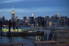 2017-Winter-Landschafts-EInansicht von Manhattan von Brooklyn Stockbilder