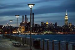 2017-Winter-Landschafts-EInansicht von Manhattan von Brooklyn Lizenzfreie Stockfotos