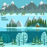 Winter-Landschaftspanorama-Fahnen Stockfotos