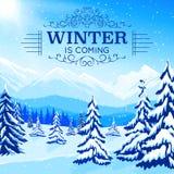 Winter-Landschaftsplakat lizenzfreie abbildung