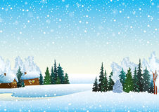 Winter landsckape with forest and houses Royalty Free Stock Photos