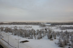 Winter landskape with forest in snow in the evening sunset. North.  Royalty Free Stock Photos
