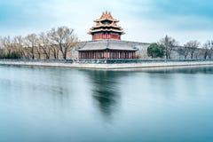 Winter-langsame Tor-Schmierfilmbildung des Eckturms des Palast-Museums in Peking, China stockbilder