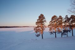 Winter lanscape. Country landscape - lake under ice stock photos