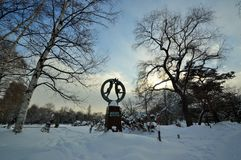 Winter lanscape. Lonely mode winter scene in Sapporo Hokkaido Japan Stock Photos