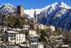 Winter lanscape view of Santa Maria in Calanca town, Switzerland Stock Images