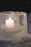 Winter lantern made of ice Royalty Free Stock Image