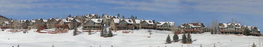 Winter, Large Houses Overlook Snowy Field