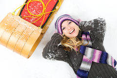 Winter: Laughing Woman With Sled Royalty Free Stock Photo