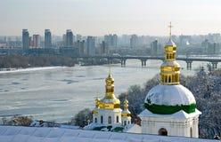 Winter lavra overlooking Kiev. Winter in Kiev-Pechersk Lavra, monastery winter Royalty Free Stock Image