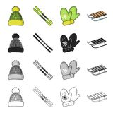 Winter, leisure, entertainment and other web icon in cartoon style.Seat, tools, accessories, icons in set collection. Winter, leisure, entertainment and other Stock Photo
