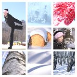 Winter leisure set. Winter leisure and landscapes pictures set with white frame Royalty Free Stock Photos
