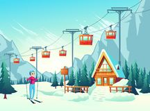 Winter leisure in snowy mountains cartoon vector. Winter vacation, active weekend leisure in mountain resort cartoon vector concept with happy smiling female stock illustration