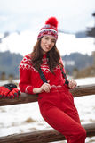 Winter, leisure, sport and people concept - happy young woman Royalty Free Stock Photos