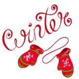 Winter. Lettering with the inscription winter, written by hand in the style of sketching Royalty Free Stock Photography