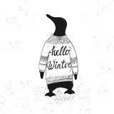 Winter lettering with penguin. Concept winter illustration with cute penguin. Vector background. Hand drawn phrase - Hello Winter. Perfect for T shirt, cup Royalty Free Illustration