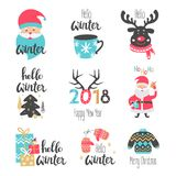Winter lettering set with holiday elements.  Santa Claus, deer. Vector illustration Stock Photos