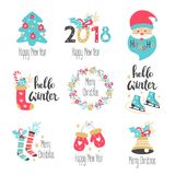 Winter lettering set with holiday elements. Vector illustration Stock Image